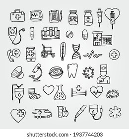 Hand Drawn Vector Set of Medical Icons