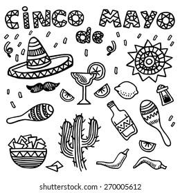 Hand drawn vector set of mexican symbols. Cinco de Mayo