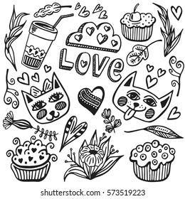 hand drawn vector set romantic 260nw
