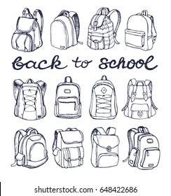 Hand drawn Vector Set of Sketch Doodle Backpacks. Casual Backpack, Fashion Backpack. Vector illustration. Back to school.