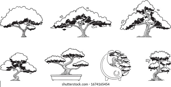 hand drawn vector set of trees.