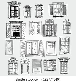 Hand Drawn Vector Set of Windows