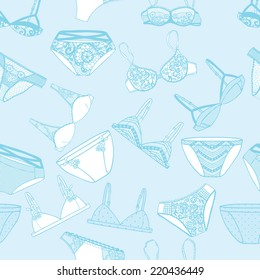 Hand drawn vector sexy lingerie set. Seamless pattern. Vector illustration.