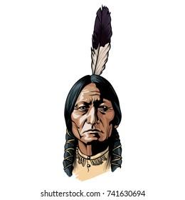 Hand drawn vector sitting bull portrait native american chief.