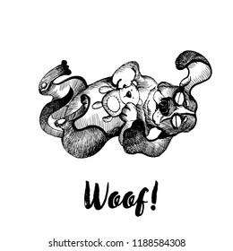 Hand drawn vector skech of cute bigl dog