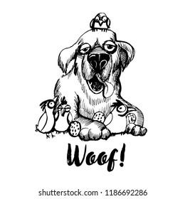 Hand drawn vector skech of funny labrador