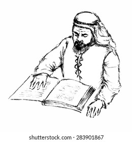 Hand drawn vector sketch of Arabian wise man in traditional clothes reading a book