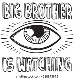 """Hand drawn vector sketch of big brother's eye with a caption saying """"Big Brother is Watching"""" to indicate surveillance and lack of privacy."""