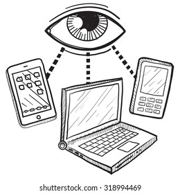 Hand drawn vector sketch of big brother's eye watching computers, mobile devices, and phones to indicate surveillance and lack of privacy.
