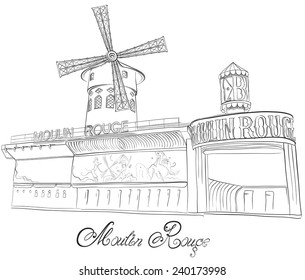 Hand drawn vector sketch of cabaret Moulin Rouge in Paris, France