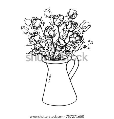Hand Drawn Vector Sketch Flower Vase Stock Vector Royalty Free