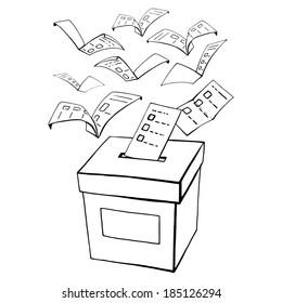 hand drawn, vector, sketch, illustration of voting, vote