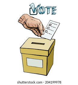 hand drawn, vector, sketch, illustration of vote or voting