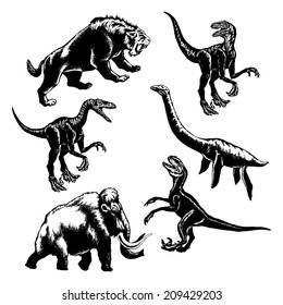hand drawn, vector, sketch illustration of collection of prehistoric animals