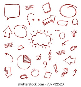 Hand drawn vector sketch illustration - speech bubbles, arows, punctuation marks in burgundy color