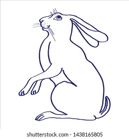Hand drawn Vector sketch. Rabbit or hare. Illustration with rabbit or hare isolated on white background.