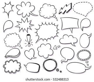 Hand drawn vector sketch speech bubbles set