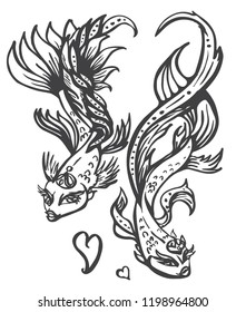 Hand drawn vector sketch of two fantasy fish with hearts, isolated on a white background. cartoon goldfish.