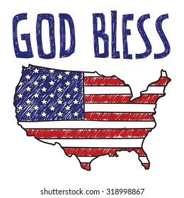 """Hand drawn vector sketch of the United States with American flag on it with a caption that says """"God Bless"""" to indicate sarcasm, social commentary, or patriotism."""