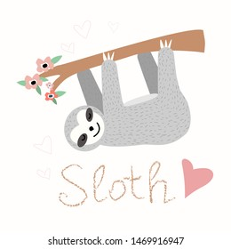 Hand drawn vector sloth on white background with text slow down.Adorable baby sloth characters hanging on the tree.Illustration for nursery design, poster, greeting, birthday card, baby shower