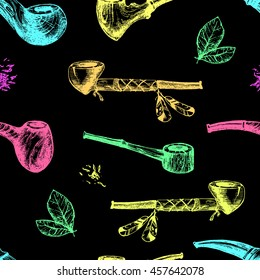 Hand drawn vector smoking pipes, sketchy engraving style. Neon modern colors collection, hipster seamless pattern.