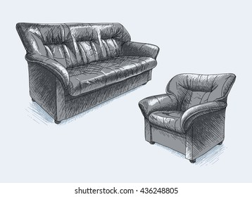 Hand drawn vector sofa and armchair (black leather)