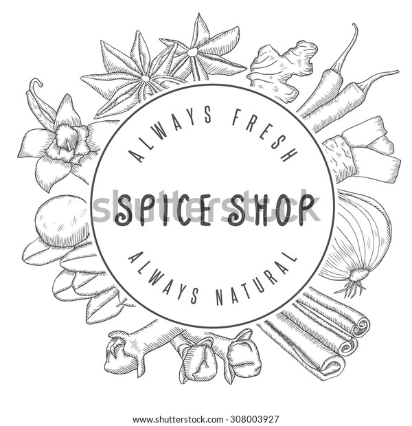 Hand drawn vector spice shop emblem with different spices. Kitchen labels, badges design elements.