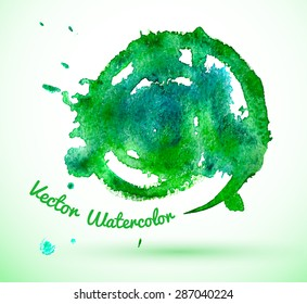 Hand drawn vector spiral green watercolor texture.