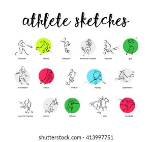 Hand drawn vector sport athlete silhouette isolated. Sportsman figure on white background. Human portrait. Dynamic moving illustration. Sketch. Ink drawing.