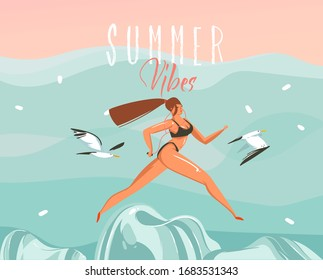 Hand drawn vector stock abstract graphic illustration with a running girl on the beach landscape and Summer vibes typography text isolated on blue background