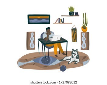 Hand drawn vector stock abstract graphic cartoon illustration with black man character,freelancer working at home with laptop computer and sitting at the desk isolated on white background