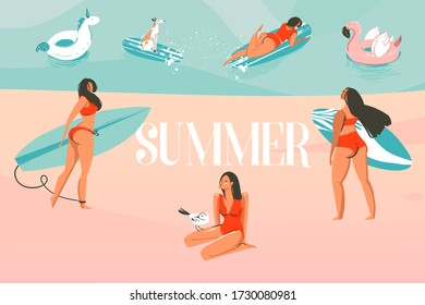 Hand drawn vector stock abstract graphic illustration with a sunbathing people group, surfing on ocean, beach landscape and Summer typography text isolated on colour background