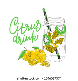 Hand drawn vector summer ice drink with cittrus. Lemon and mint. Detox water sketch. Linear illustration.