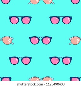 Hand Drawn Vector Sunglasses Seamless Pattern. Summer Trendy Textile Design Background. Seamless Texture for T-Shirt.