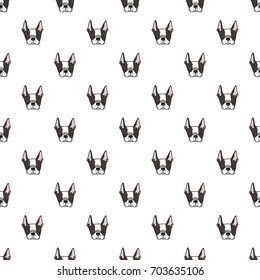 Hand drawn vector surface pattern with cute boston terrier dogs. Cartoon black and white puppies ornament. Could be used for wrapping paper, textile, kids fashion.
