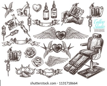 Hand drawn vector tattoo studio collection with sketch engraving illustration. Set with equipment and machines for tattooist and tattoo design