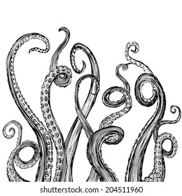 Hand Drawn Vector Tentacles in a rough wood cut style (each tentacle is a separate illustration and can be rearranged or coloured as desired).