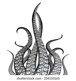 Hand Drawn Vector Tentacles in a rough wood cut style (each tentacle is a separate illustration and can be rearranged or colored as desired).
