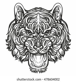 Hand drawn vector tiger head illustration with traditional ornaments on white background. For print, web, textile, wrapping paper. Zentangle tiger vector illustration