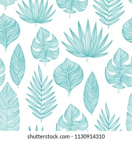 Hand drawn vector tropical leaves seamless pattern