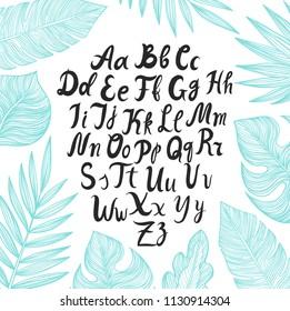 Hand drawn vector tropical leaves.Hand drawn vector alphabet