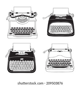 Hand Drawn Vector Typewriters