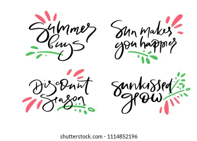 Hand drawn vector typography lettering summer, buys, sun makes you happier, discount, season, sunkissed glow, poster for label, magazine, blogger, ad, shop, calligraphy logotype, text souvenir