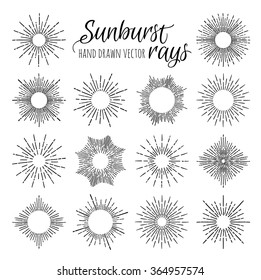 Hand Drawn vector vintage elements - sunburst (bursting) rays. Perfect for invitations, greeting cards, blogs, posters and more.