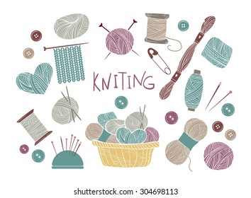 Hand drawn vector vintage illustration - Set of knitting and crafts. Yarn, pins, buttons, thread, needle bar