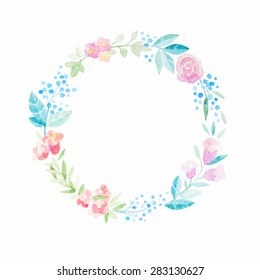 Hand drawn vector watercolor flower wreath