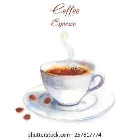 Hand drawn vector watercolor-style Espresso coffee.