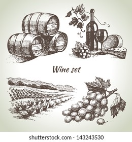 Hand drawn vector wine set