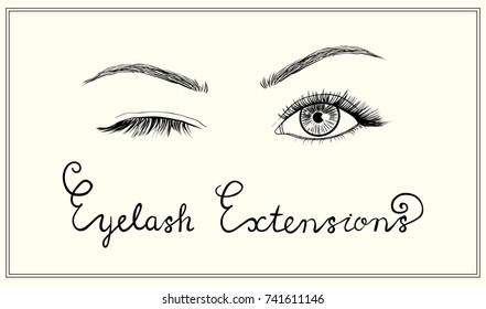 Hand drawn vector winked  eyes with long lashes. Template for eyelash extensions advertising.