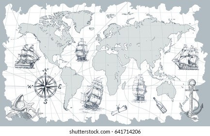 Hand drawn vector world map with compass, anchor and sailing ships in vintage style. Perfect for textiles, wallpaper and prints.